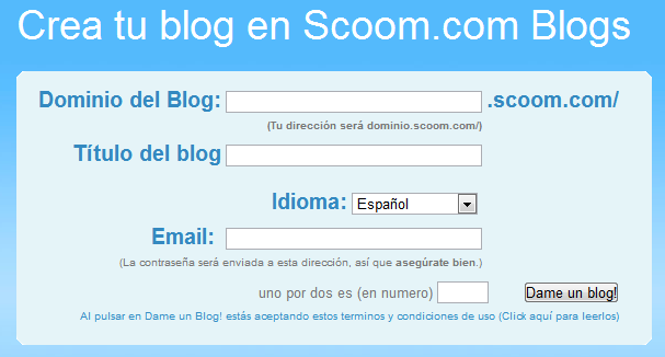 Blog gratis con Scoom